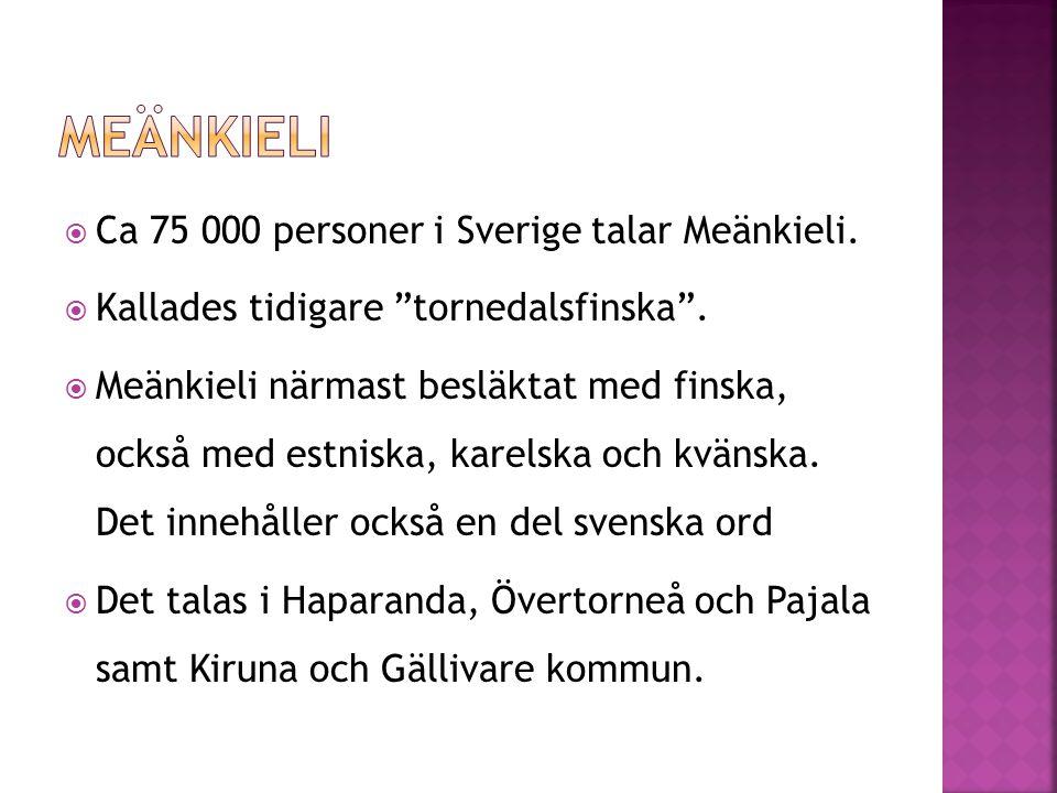 """ Ca 75 000 personer i Sverige talar Meänkieli.  Kallades tidigare """"tornedalsfinska"""".  Meänkieli närmast besläktat med finska, också med estniska, k"""