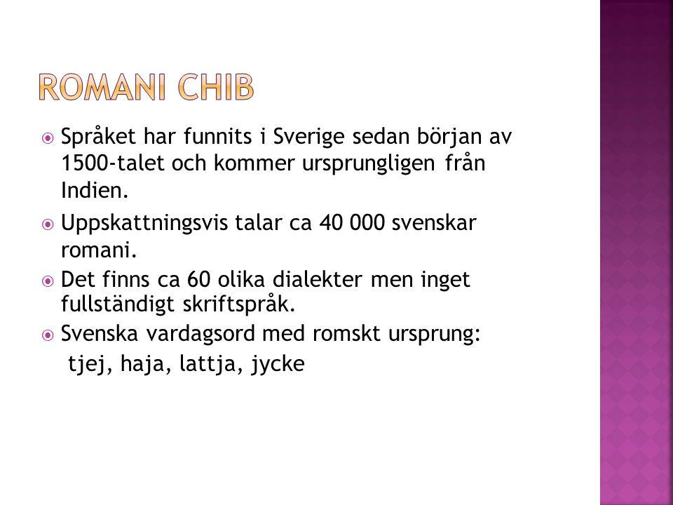  Språket har funnits i Sverige sedan början av 1500-talet och kommer ursprungligen från Indien.  Uppskattningsvis talar ca 40 000 svenskar romani. 