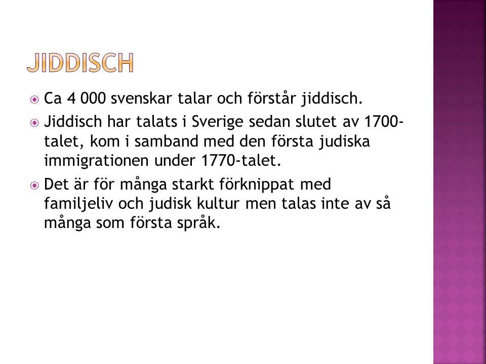  Ca 4 000 svenskar talar och förstår jiddisch.  Jiddisch har talats i Sverige sedan slutet av 1700- talet, kom i samband med den första judiska immi