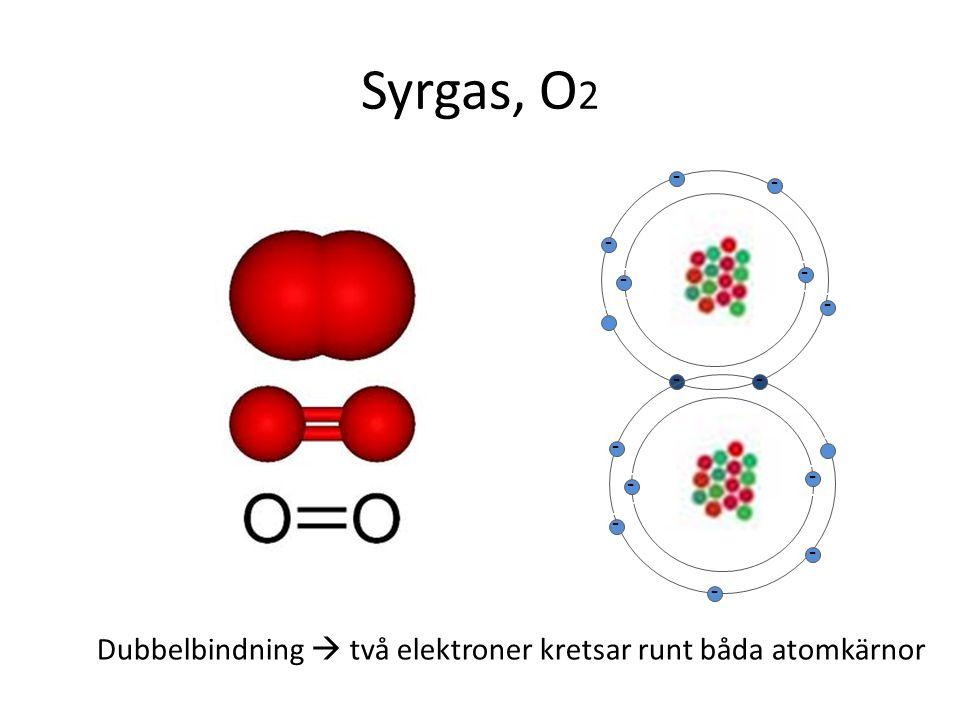 Syrgas, O 2 - - - - - - - - - - - - - - - - - - - - - - - - Dubbelbindning  två elektroner kretsar runt båda atomkärnor - - - - - -
