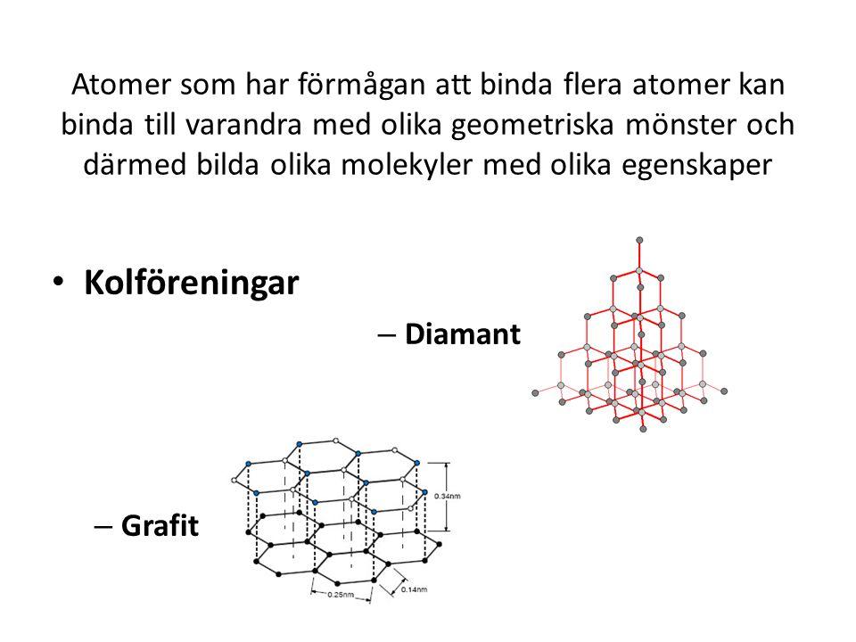 Atomer som har förmågan att binda flera atomer kan binda till varandra med olika geometriska mönster och därmed bilda olika molekyler med olika egensk