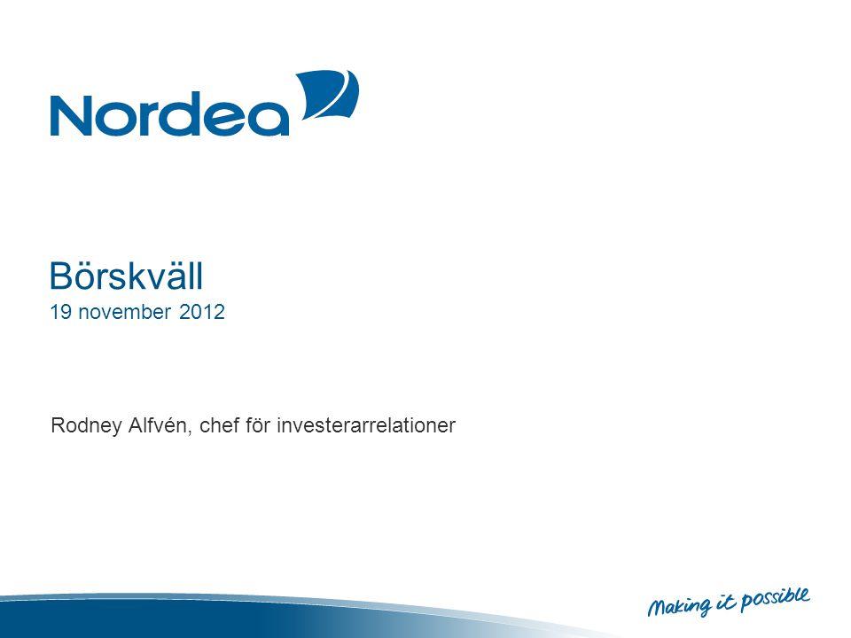Börskväll 19 november 2012 Rodney Alfvén, chef för investerarrelationer