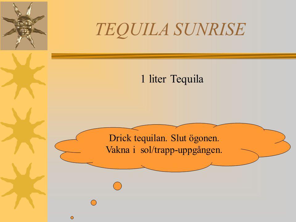 TEQUILA SUNRISE 1 liter Tequila Drick tequilan. Slut ögonen. Vakna i sol/trapp-uppgången.