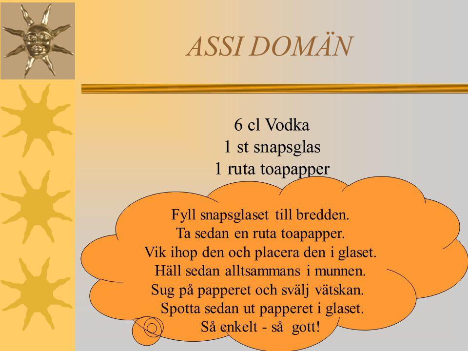 ASSI DOMÄN 6 cl Vodka 1 st snapsglas 1 ruta toapapper Fyll snapsglaset till bredden.