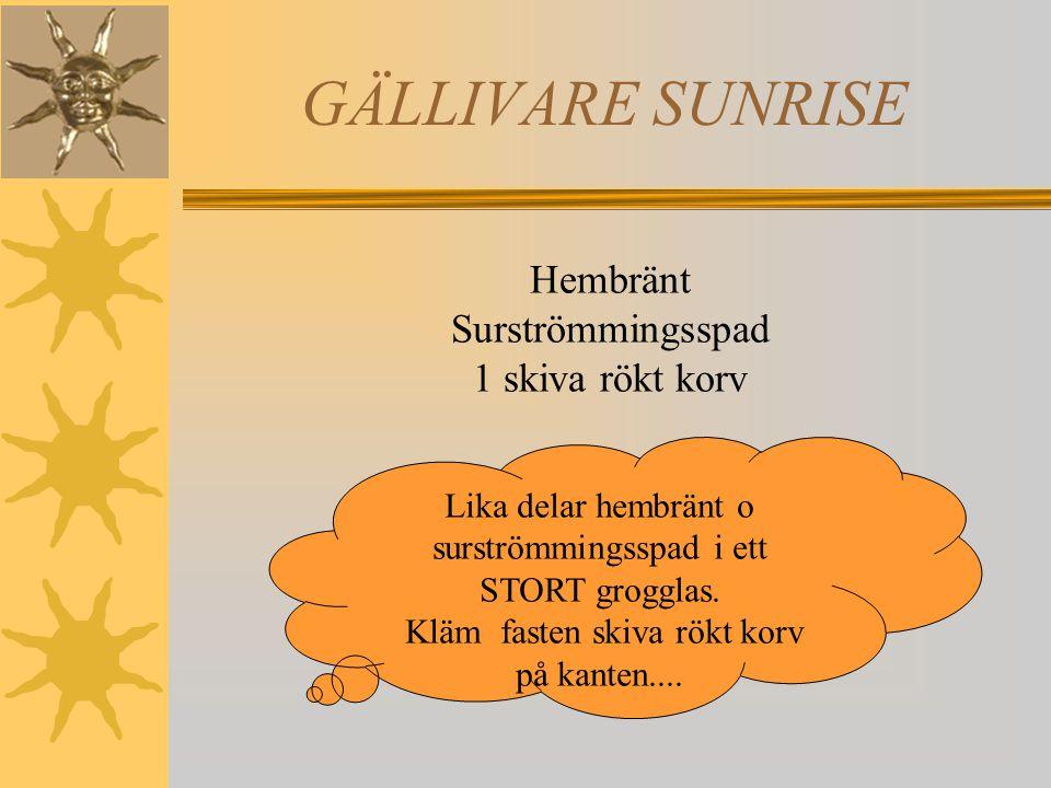 GÄLLIVARE SUNRISE Hembränt Surströmmingsspad 1 skiva rökt korv Lika delar hembränt o surströmmingsspad i ett STORT grogglas.