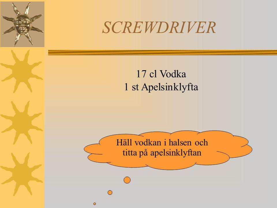 SCREWDRIVER 17 cl Vodka 1 st Apelsinklyfta Häll vodkan i halsen och titta på apelsinklyftan