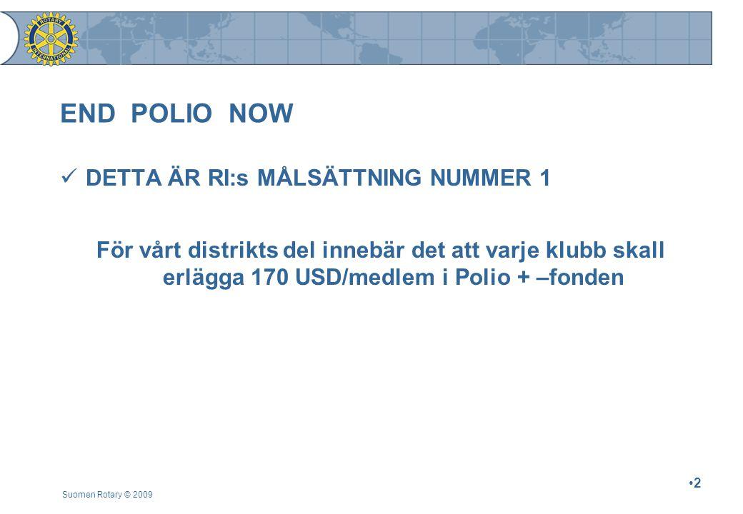 END POLIO NOW DETTA ÄR RI:s MÅLSÄTTNING NUMMER 1 För vårt distrikts del innebär det att varje klubb skall erlägga 170 USD/medlem i Polio + –fonden Suomen Rotary © 2009 2