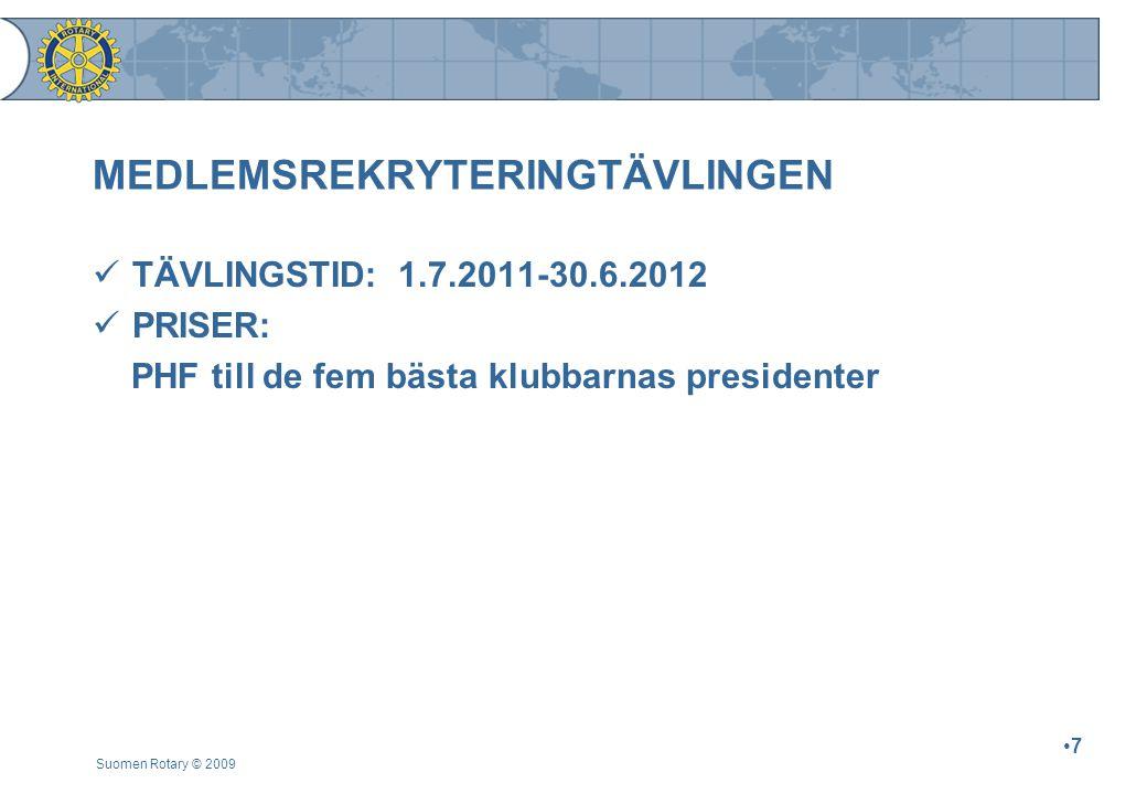 MEDLEMSREKRYTERINGTÄVLINGEN TÄVLINGSTID: 1.7.2011-30.6.2012 PRISER: PHF till de fem bästa klubbarnas presidenter Suomen Rotary © 2009 7