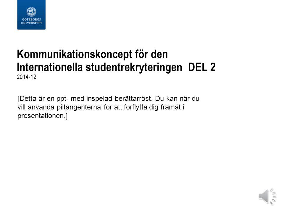 Kommunikationskoncept för den Internationella studentrekryteringen DEL 2 2014-12 [Detta är en ppt- med inspelad berättarröst.