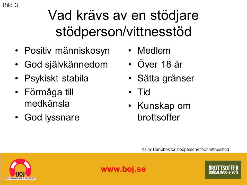 www.boj.se Källa: Handbok för stödpersoner och vittnesstöd Vad krävs av en stödjare stödperson/vittnesstöd Positiv människosyn God självkännedom Psyki
