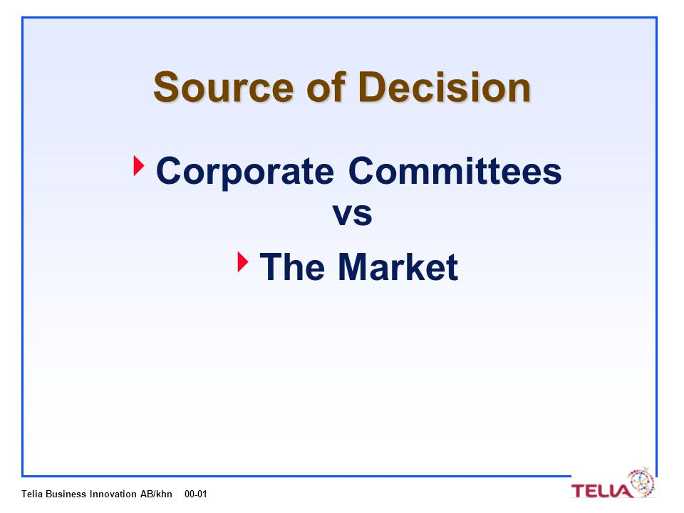 Telia Business Innovation AB/khn 00-01 Source of Decision  Corporate Committees vs  The Market