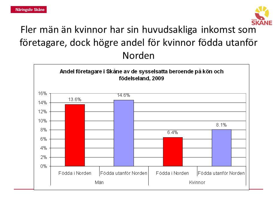 Fler män än kvinnor har sin huvudsakliga inkomst som företagare, dock högre andel för kvinnor födda utanför Norden