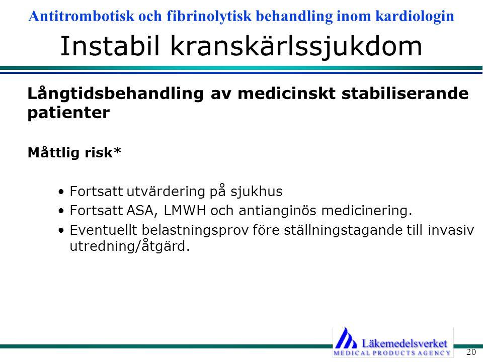 Antitrombotisk och fibrinolytisk behandling inom kardiologin 20 Instabil kranskärlssjukdom Långtidsbehandling av medicinskt stabiliserande patienter M