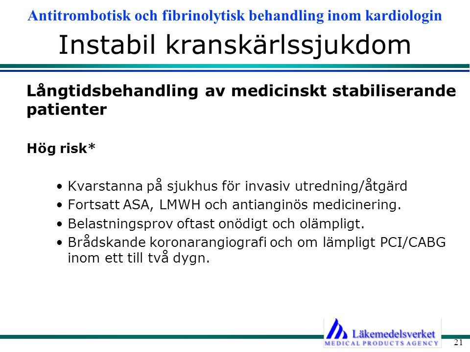 Antitrombotisk och fibrinolytisk behandling inom kardiologin 21 Instabil kranskärlssjukdom Långtidsbehandling av medicinskt stabiliserande patienter H
