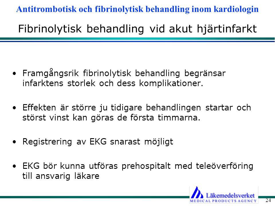 Antitrombotisk och fibrinolytisk behandling inom kardiologin 24 Fibrinolytisk behandling vid akut hjärtinfarkt Framgångsrik fibrinolytisk behandling b