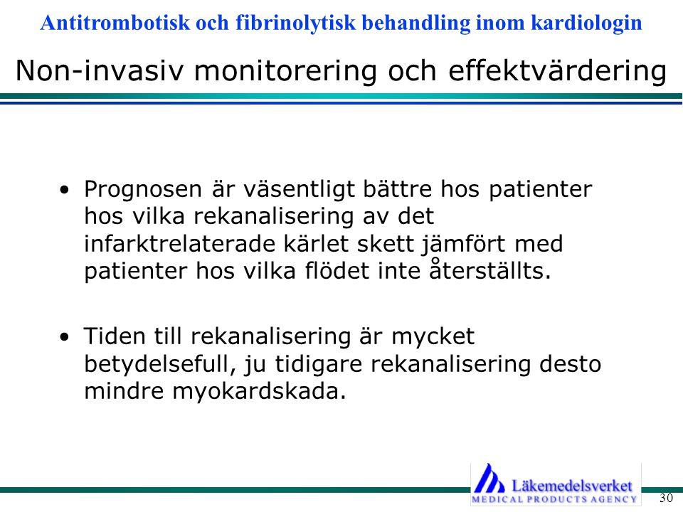 Antitrombotisk och fibrinolytisk behandling inom kardiologin 30 Non-invasiv monitorering och effektvärdering Prognosen är väsentligt bättre hos patien