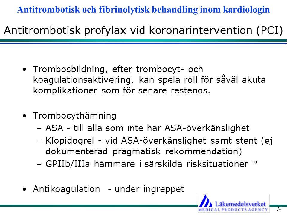 Antitrombotisk och fibrinolytisk behandling inom kardiologin 34 Antitrombotisk profylax vid koronarintervention (PCI) Trombosbildning, efter trombocyt