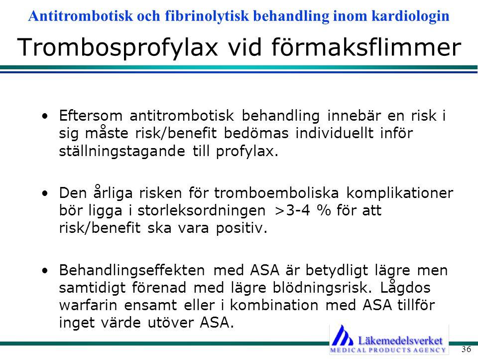Antitrombotisk och fibrinolytisk behandling inom kardiologin 36 Trombosprofylax vid förmaksflimmer Eftersom antitrombotisk behandling innebär en risk