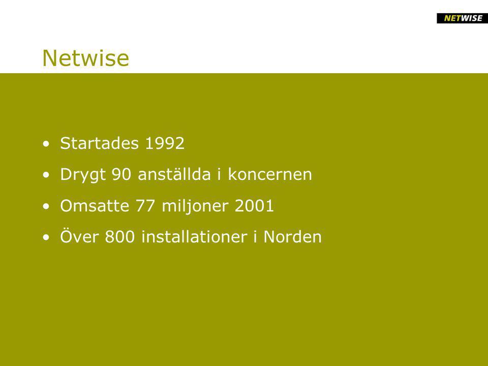 Netwise Startades 1992 Drygt 90 anställda i koncernen Omsatte 77 miljoner 2001 Över 800 installationer i Norden