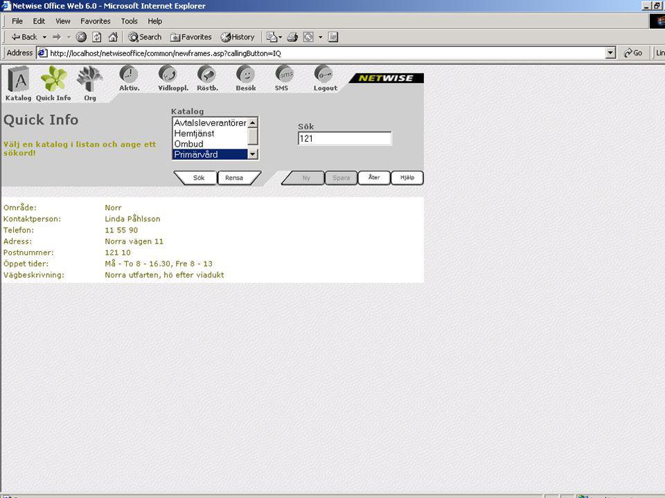 CMG 6.0 för medarbetarna Exempel i Quick Info Primärvård – rätt info efter postnummer Säkerhet – Info om kontaktvägar Företagsgemensam info