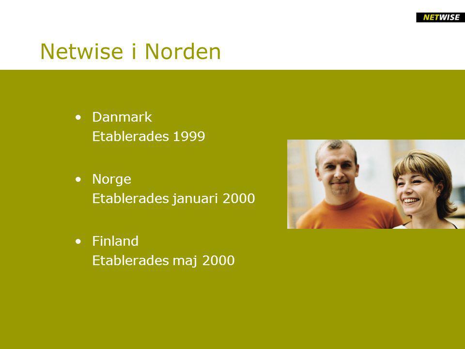 Netwise i Norden Danmark Etablerades 1999 Norge Etablerades januari 2000 Finland Etablerades maj 2000