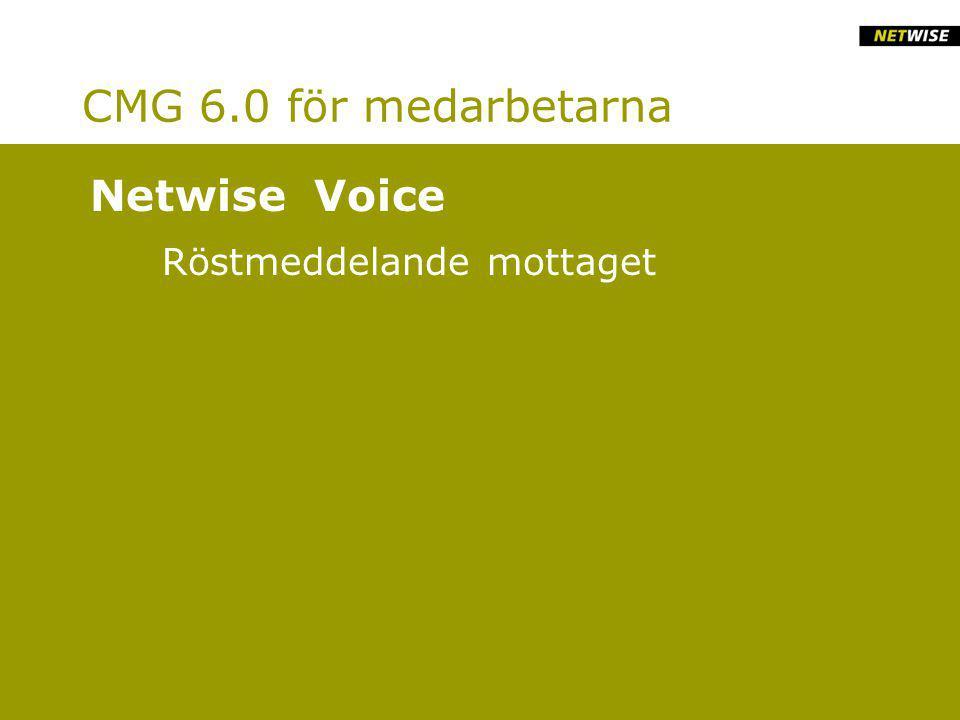 CMG 6.0 för medarbetarna Röstmeddelande mottaget Netwise Voice