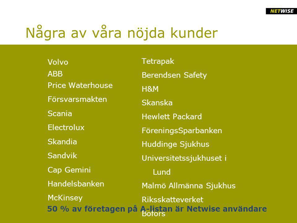 Några av våra nöjda kunder Volvo ABB Price Waterhouse Försvarsmakten Scania Electrolux Skandia Sandvik Cap Gemini Handelsbanken McKinsey Tetrapak Berendsen Safety H&M Skanska Hewlett Packard FöreningsSparbanken Huddinge Sjukhus Universitetssjukhuset i Lund Malmö Allmänna Sjukhus Riksskatteverket Bofors 50 % av företagen på A-listan är Netwise användare