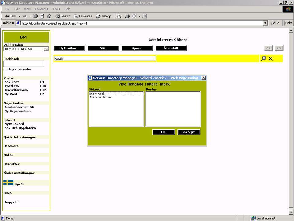 CMG 6.0 för driftsoperatörer Uppgifter om medarbetare Sökord Förändringar i organisationen Abonnenter