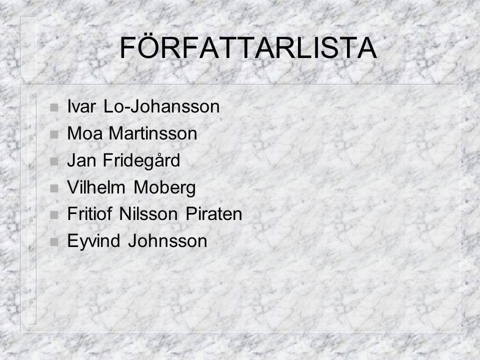 FÖRFATTARLISTA Ivar Lo-Johansson Moa Martinsson Jan Fridegård Vilhelm Moberg Fritiof Nilsson Piraten Eyvind Johnsson