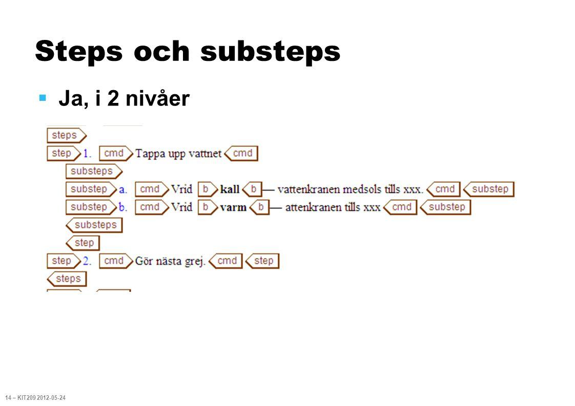 Steps och substeps  Ja, i 2 nivåer 14 – KIT209 2012-05-24