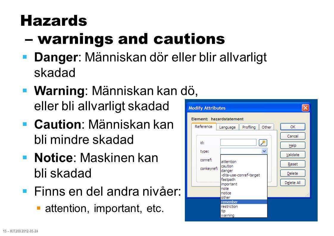 Hazards – warnings and cautions  Danger: Människan dör eller blir allvarligt skadad  Warning: Människan kan dö, eller bli allvarligt skadad  Cautio