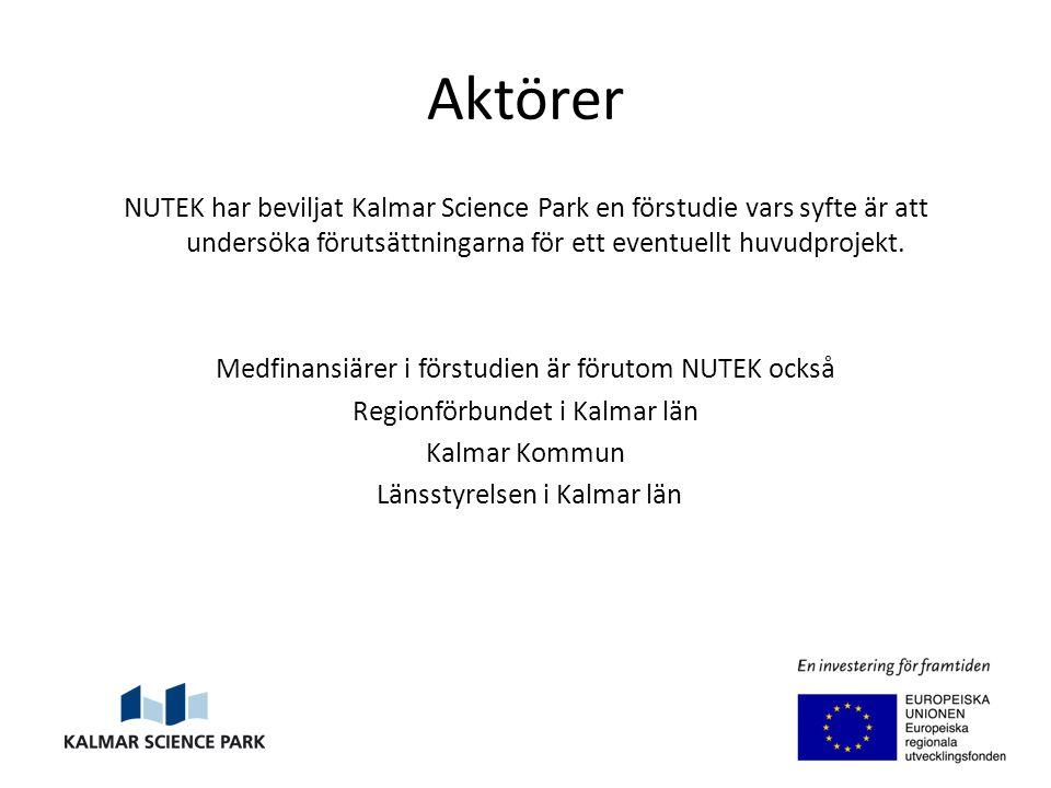 Aktörer NUTEK har beviljat Kalmar Science Park en förstudie vars syfte är att undersöka förutsättningarna för ett eventuellt huvudprojekt.