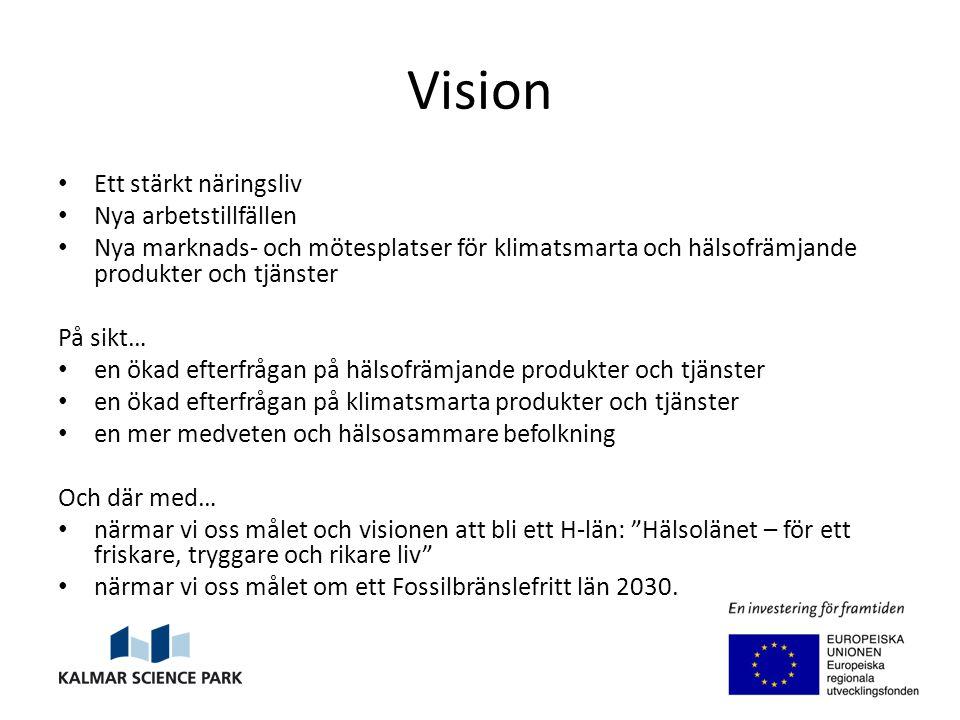 Vision Ett stärkt näringsliv Nya arbetstillfällen Nya marknads- och mötesplatser för klimatsmarta och hälsofrämjande produkter och tjänster På sikt… en ökad efterfrågan på hälsofrämjande produkter och tjänster en ökad efterfrågan på klimatsmarta produkter och tjänster en mer medveten och hälsosammare befolkning Och där med… närmar vi oss målet och visionen att bli ett H-län: Hälsolänet – för ett friskare, tryggare och rikare liv närmar vi oss målet om ett Fossilbränslefritt län 2030.