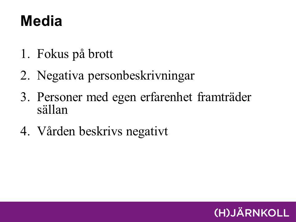 Media 1.Fokus på brott 2.Negativa personbeskrivningar 3.Personer med egen erfarenhet framträder sällan 4.Vården beskrivs negativt