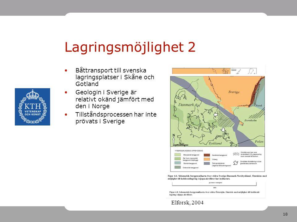 18 Elforsk, 2004 Lagringsmöjlighet 2 Båttransport till svenska lagringsplatser i Skåne och Gotland Geologin i Sverige är relativt okänd jämfört med de