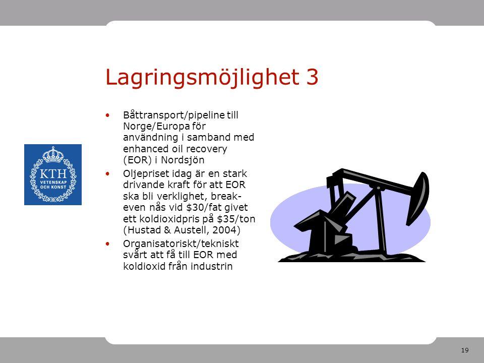 19 Lagringsmöjlighet 3 Båttransport/pipeline till Norge/Europa för användning i samband med enhanced oil recovery (EOR) i Nordsjön Oljepriset idag är