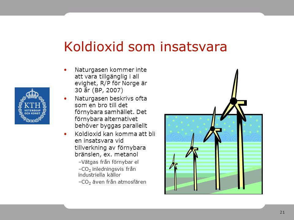 21 Koldioxid som insatsvara Naturgasen kommer inte att vara tillgänglig i all evighet, R/P för Norge är 30 år (BP, 2007) Naturgasen beskrivs ofta som