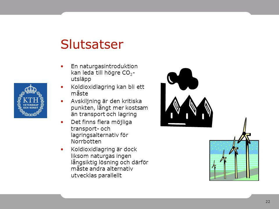 22 Slutsatser En naturgasintroduktion kan leda till högre CO 2 - utsläpp Koldioxidlagring kan bli ett måste Avskiljning är den kritiska punkten, långt