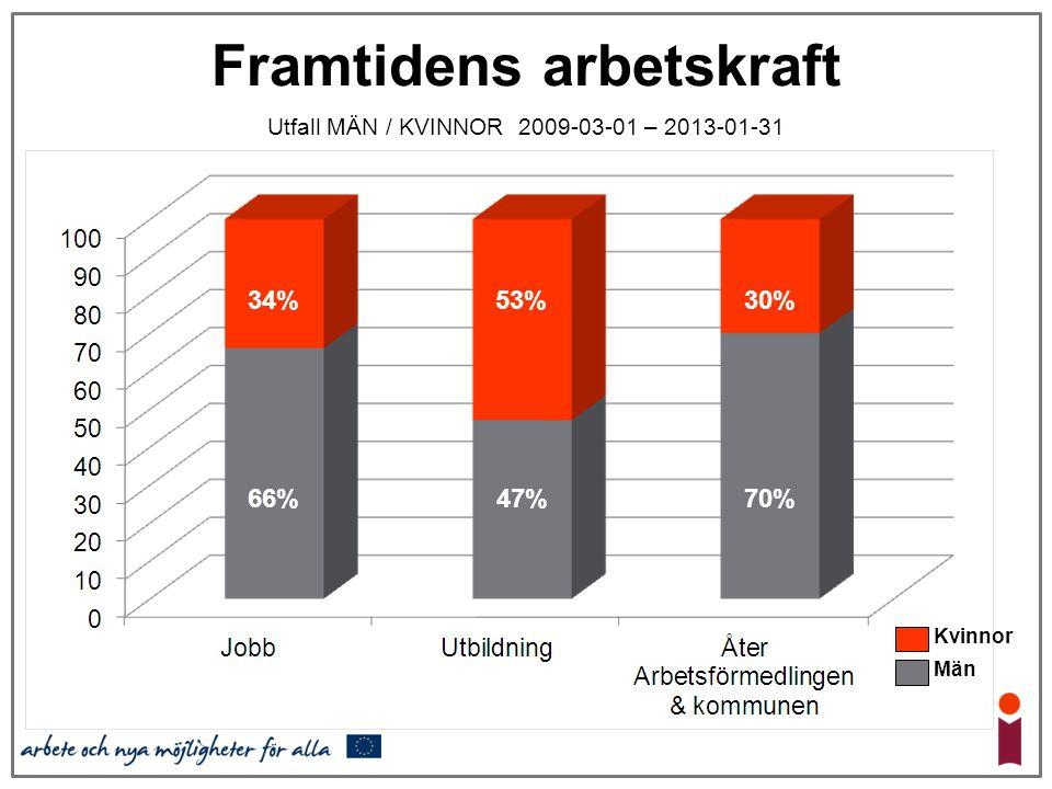 Framtidens arbetskraft Utfall MÄN / KVINNOR 2009-03-01 – 2013-01-31 66% 34% 47% 53% 70% 30% Kvinnor Män