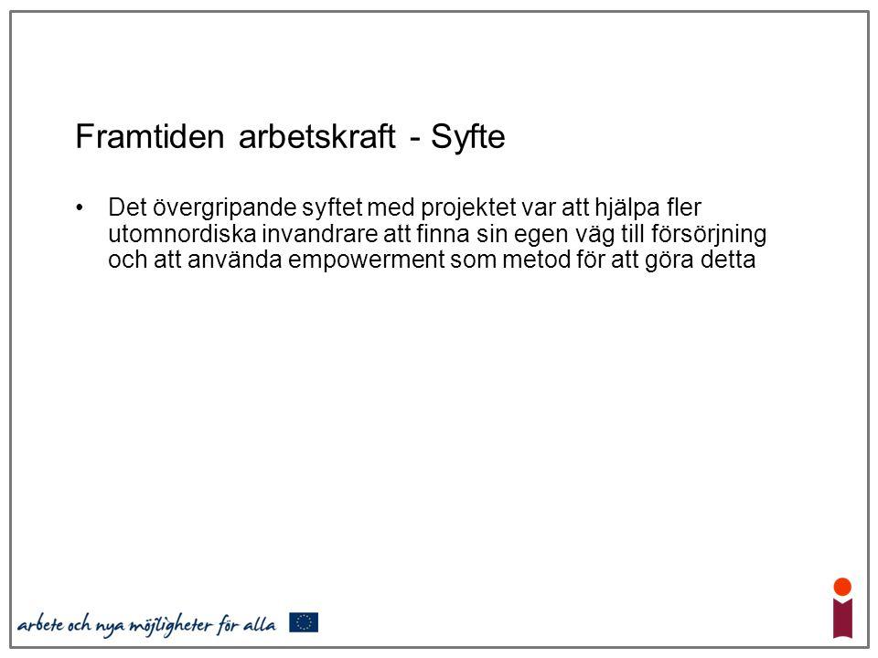 Framtiden arbetskraft - Syfte Det övergripande syftet med projektet var att hjälpa fler utomnordiska invandrare att finna sin egen väg till försörjnin