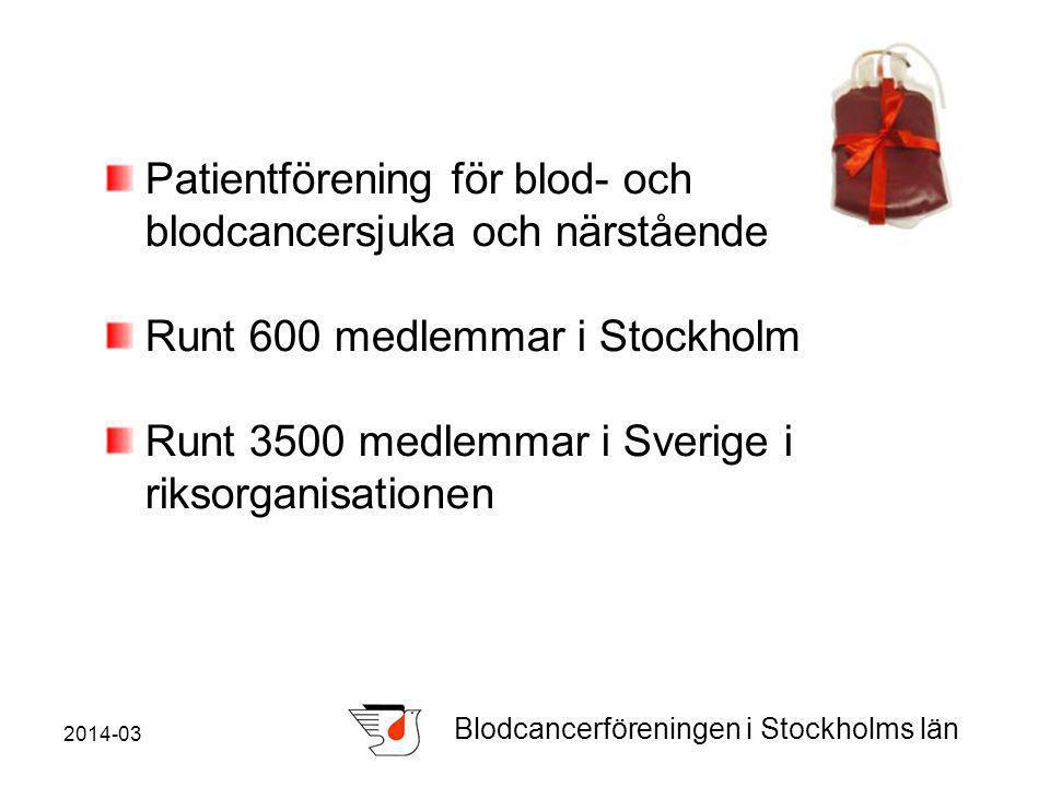 2014-03 Blodcancerföreningen i Stockholms län Patientförening för blod- och blodcancersjuka och närstående Runt 600 medlemmar i Stockholm Runt 3500 medlemmar i Sverige i riksorganisationen