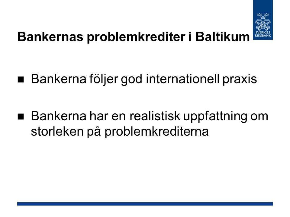 Bankernas problemkrediter i Baltikum Bankerna följer god internationell praxis Bankerna har en realistisk uppfattning om storleken på problemkreditern