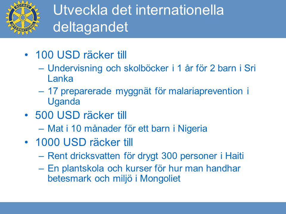 Utveckla det internationella deltagandet 100 USD räcker till –Undervisning och skolböcker i 1 år för 2 barn i Sri Lanka –17 preparerade myggnät för malariaprevention i Uganda 500 USD räcker till –Mat i 10 månader för ett barn i Nigeria 1000 USD räcker till –Rent dricksvatten för drygt 300 personer i Haiti –En plantskola och kurser för hur man handhar betesmark och miljö i Mongoliet