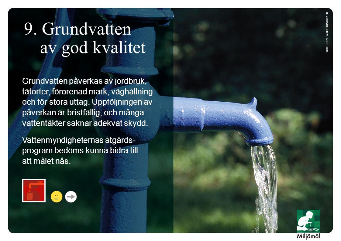 9. Grundvatten av god kvalitet Grundvatten påverkas av jordbruk, tätorter, förorenad mark, väghållning och för stora uttag. Uppföljningen av påverkan