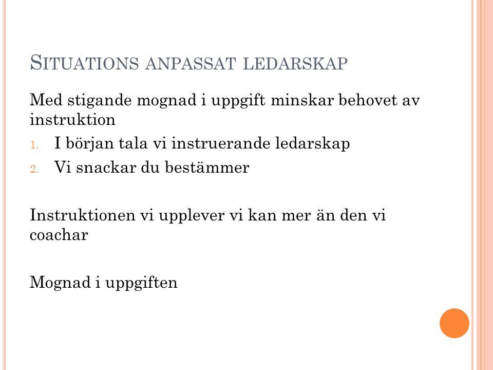 S ITUATIONS ANPASSAT LEDARSKAP Med stigande mognad i uppgift minskar behovet av instruktion 1. I början tala vi instruerande ledarskap 2. Vi snackar d