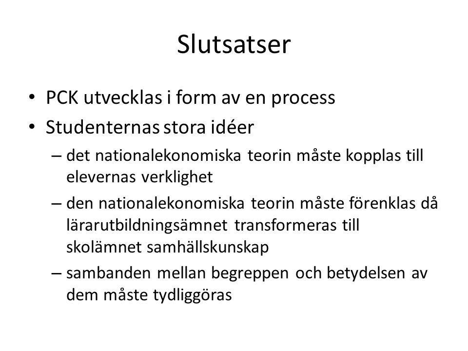 Slutsatser PCK utvecklas i form av en process Studenternas stora idéer – det nationalekonomiska teorin måste kopplas till elevernas verklighet – den n