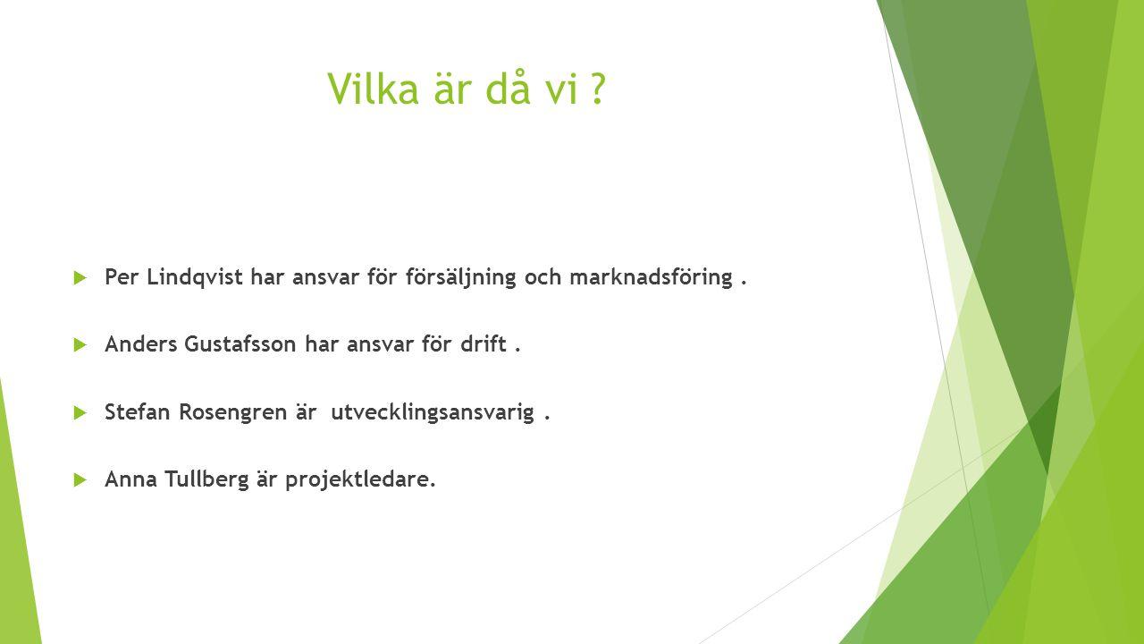 Vilka är då vi ?  Per Lindqvist har ansvar för försäljning och marknadsföring.  Anders Gustafsson har ansvar för drift.  Stefan Rosengren är utveck