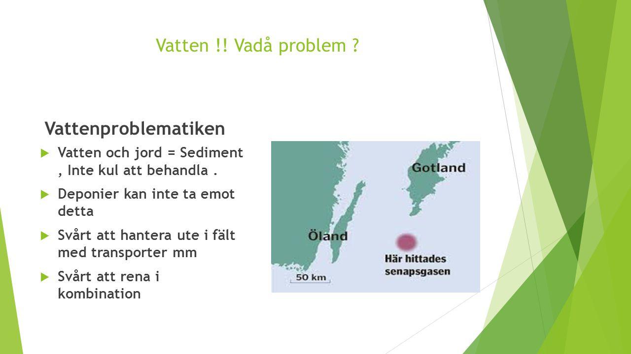 Vatten !! Vadå problem ? Vattenproblematiken  Vatten och jord = Sediment, Inte kul att behandla.  Deponier kan inte ta emot detta  Svårt att hanter