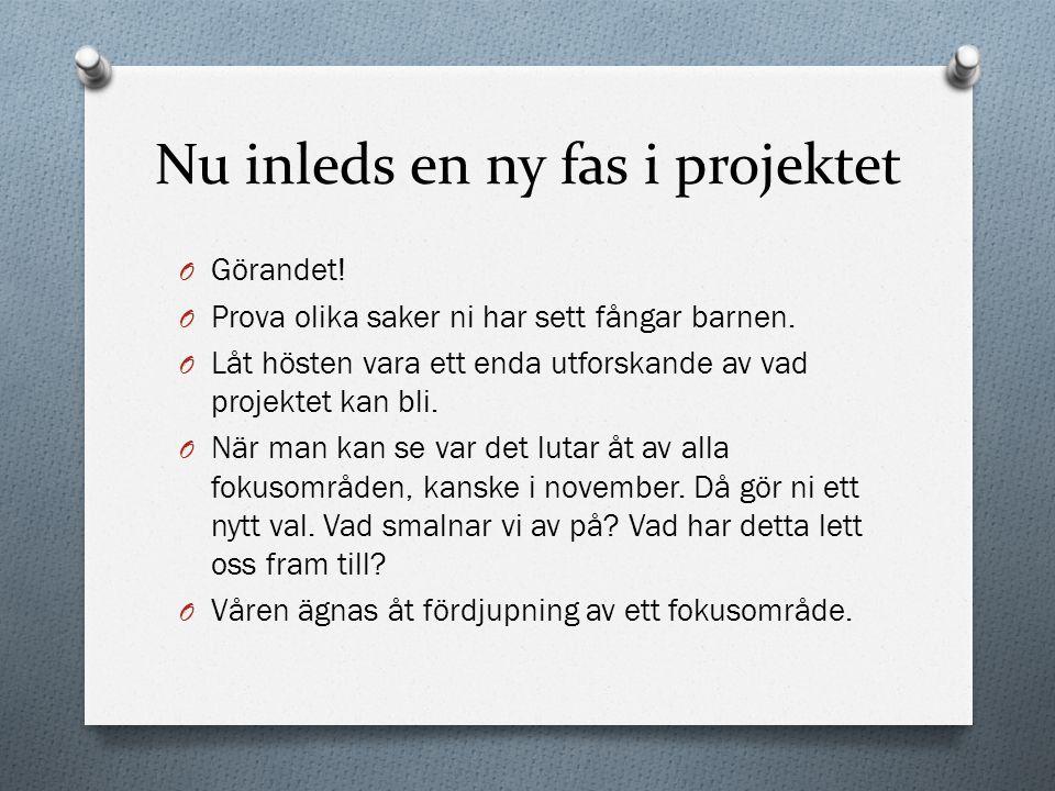 Nu inleds en ny fas i projektet O Görandet.O Prova olika saker ni har sett fångar barnen.