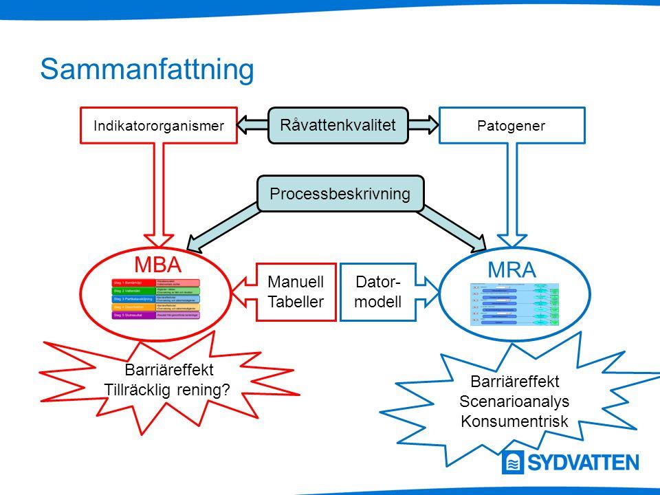 Sammanfattning MBA MRA Råvattenkvalitet Processbeskrivning Manuell Tabeller Dator- modell IndikatororganismerPatogener Barriäreffekt Tillräcklig rening.